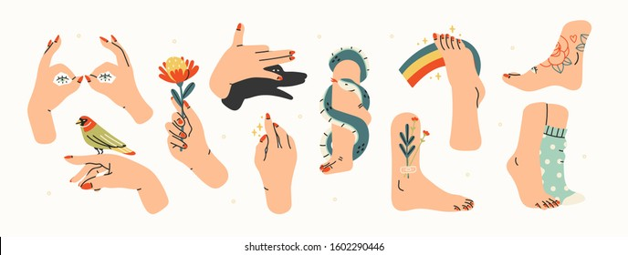 Female hands. Hands with bird and flower. Shadow puppet barking dog. Female legs and feet. Side view. Snake wrapped around neck. Flowers, rainbow, tattoos, socks. Hand drawn big vector set