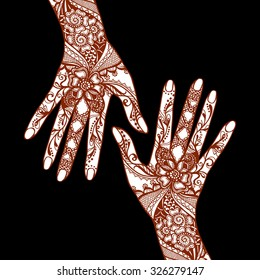Female hands covered with traditional indian mehendi henna tattoo ornaments on black background vector illustration