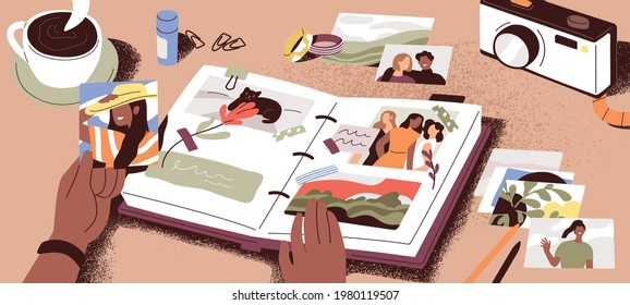Female hands creating photo album, attaching and arranging photographs and memory notes. Creation of book with pictures. Colored flat vector illustration of photoalbum or scrapbook with images.