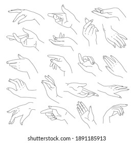 Female hands, elegant arms with wrists and fingers. Isolated woman body part, pointing fingers and gesture. Nonverbal language. Line art of signals and gesturing expression. Vector in flat style