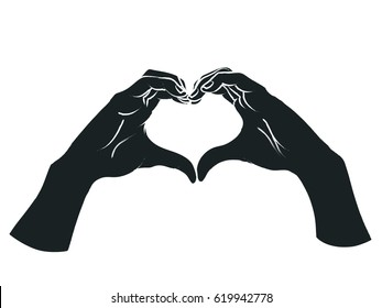 Female hands in the form of heart. Vector illustration in sketch style isolated on a white background. Making love sign by hands. White lines and dark grey silhouette.