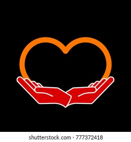 Female hands in the form of heart, vector