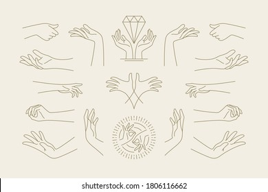 Female hands gestures collection of line art hand drawn style vector illustrations. Feminine symbols for fashion skin care cosmetics emblem and packaging or beauty products logo branding