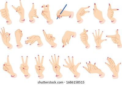 Female hands. Hand sign illustration set.