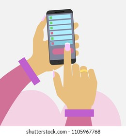 Female hands hold a mobile phone. Wife checks the history of calls in her husband's phone. Woman clears calls history list. Isolated Flat illustration.