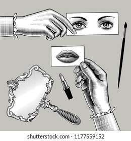 Female hands holding the cards with eyes and lips drawing in vintage engraving style. Retro mirror, lipstick and brush. Vector illustration