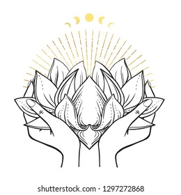 Female hands holding lush lotus flower. Vector hand drawn illustration