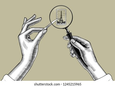 Female hands with holding magnifying glass and postage stamp with the Eiffel Tower. Vintage engraving stylized drawing. Vector illustration