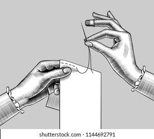 Female hands sewing with the needle a piece of cloth. Vintage engraving stylized drawing. Vector illustration