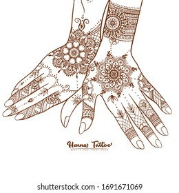 Female hands with traditional indian henna tattoo. Template for tottoo salon banner, wedding invitation, gift voucher, label. Vector illustration.
