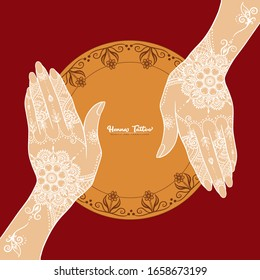 Female hands with traditional indian white henna tattoo. Template for tottoo salon banner, wedding invitation, gift voucher, label. Vector illustration.