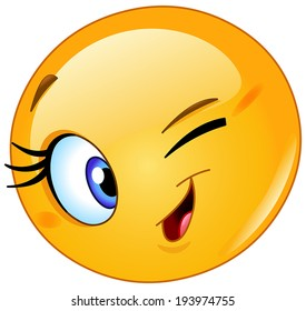 female happy emoji emoticon winking