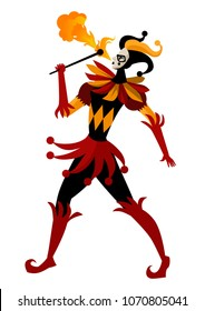 female harlequin dancing with fire
