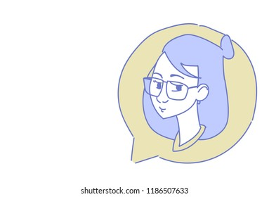 female head chat bubble profile icon woman avatar support service call center concept sketch doodle character portrait horizontal vector illustration