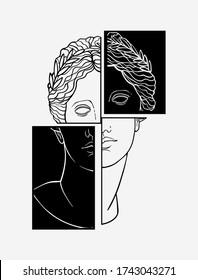 female head of a Greek statue on a geometric background, black and white hand-drawn tattoo, goddess Venus