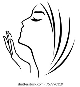Female head and hand abstract simple outline, stylized vector design element isolated on the white background