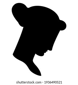 Female head in profile. Portrait of a beautiful young woman. Black silhouette on white background.