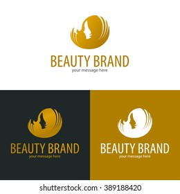 Female head silhouette vector illustration. Cosmetic or beauty logo template.