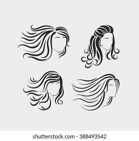 Female head silhouettes with beautiful hair. Silhouettes of beautiful womens heads with long hair