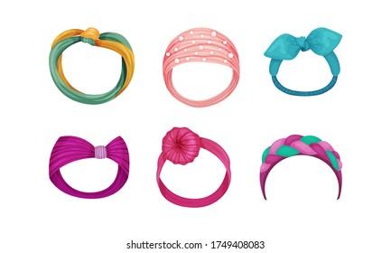 Female Headband as Hair or Head Accessory Vector Set