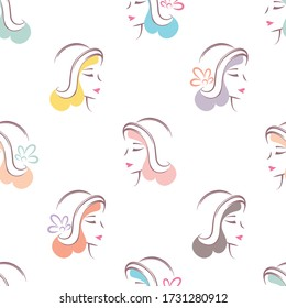Female heads with colorful hair in retro hats on a white background. Seamless pattern vector