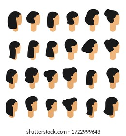 Female heads icon set vector. Asian woman face with black hair in profile, isolated modern flat clip art for design. Human head icon.