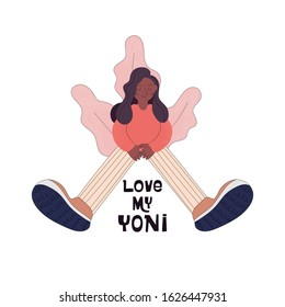 Female healthcare campaign flat vector banner template. Afro-american women takes care for her health. Love your yoni text