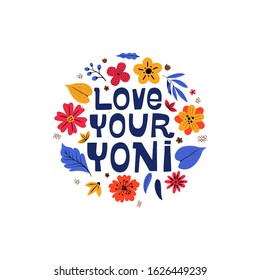Female healthcare campaign flat vector banner template. Love your yoni text witn floral design
