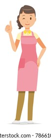 A female home helper wearing an apron is doing a good sign