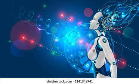 female humanoid robot or cyborg with artificial intelligence sideways. Head of machine is connected by cable to the super computer. Beautiful robotic woman with artificial face looking up.