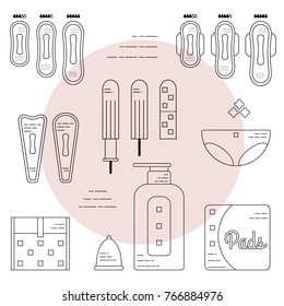 Female hygiene products. Gaskets, tampons, menstrual bowl and briefs. Isolated flat icons and objects.