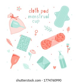 Female hygiene products. Menstrual cup and cloth pad help women in menses, vector illustration items for menstruation isolated on white background