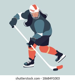 Female ice hockey. Ice-hockey player with stick. Winter team sport. Young ice hockey player in action.