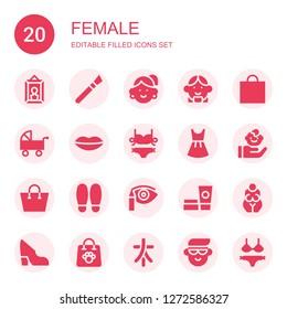 female icon set. Collection of 20 filled female icons included Portrait, Makeup, Avatar, Shopping bag, Pushchair, Lips, Bikini, Dress, Child, Shoe, Eye shadow, Cosmetics, Goddess