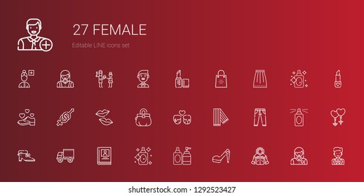 female icons set. Collection of female with jacket, high heels, perfume, biography, side view, shoes, jeans, scarf, couple, purse, kiss, gender. Editable and scalable female icons.