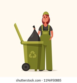 Female Janitor with Trash Bag. Cartoon Style. Vector Illustration
