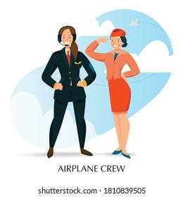 Female job composition with airplane crew symbols flat vector illustration