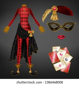 Female joker, harlequin suit realistic vector. Tight, red checkered dress, black skirt with golden bow, precious stone, twisted toe shoe, ruby and feather on hat, face mask, playing cards illustration