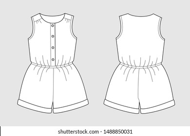 Female jumpsuit shorts vector template isolated on a grey background. Front and back view. Outline fashion technical sketch of clothes model.