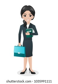 Female Lawyer Holding Book of Law and Bag