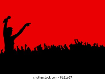 female leading the crowd at a rock concert on a red background
