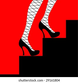 2b954236a75 Female Legs Blue Shoes Stockings Grid Stock Illustration 36282394 ...