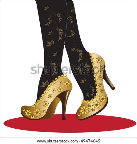 5d19f2c5e80 Female Legs Gold High Heels Isolated Stock Vector (Royalty Free ...