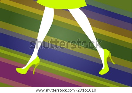 ba76f292a1b ... Vector (Royalty Free) 29161810 - Shutterstock. Female legs in green  shoes on a background from Multi-coloured strips