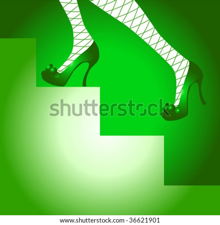 5f5f183d6e2 Royalty-free stock vector images ID  36621901. Female legs in green shoes  and stockings in a grid On a ladder - Vector