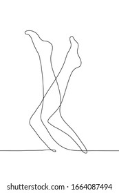 Female legs are lifted up and bent. Black outline on a white background. One continuous line art of female legs isolated on a white background. Can be used for animation.