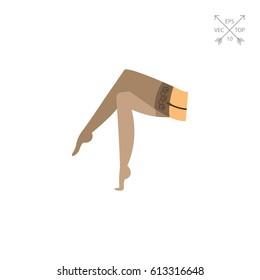 Female legs in nylon stockings icon