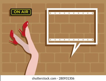 Female legs pointed up by the wall with On Air message. Square speech bubble for text or title. Editable EPS10 Vector.