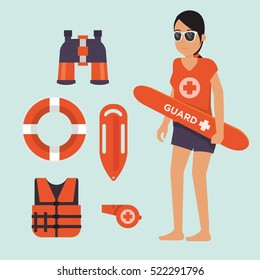 female Life guard standing watching situation on the beach