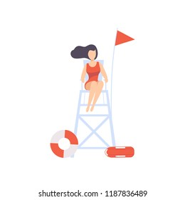 Female lifeguard sitting on lookout tower, professional rescuer character working on the beach vector Illustration on a white background.